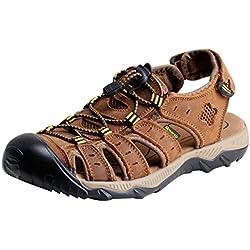 iLoveSIA Hombre Cuero Sandalias Deporte Zapato caqui EU 44 (Etiqueta 46)