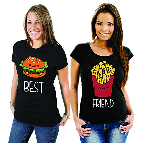 Coppia Di T Shirt Magliette You And Me Best Friend Fast Food Nere Donna Best M Donna Friend M
