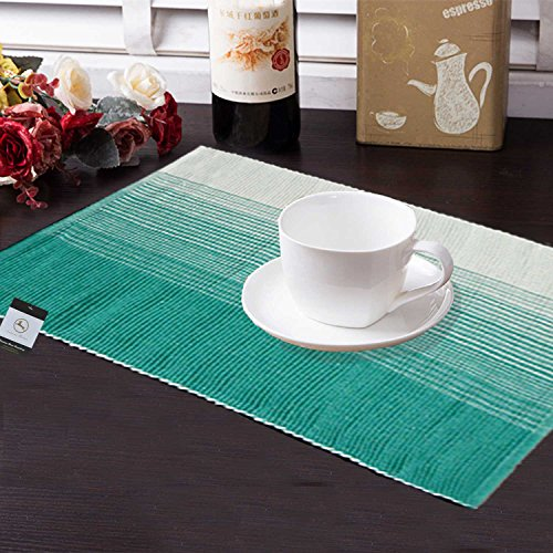 Avioni Premium Cotton Ribbed Table Mats Horizon Collection Export Quality Turquoise Green...