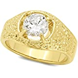 Men's 13mm 14k Gold Plated Solitaire Ring with Round Cubic Zirconia CZ