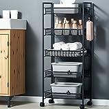 Scaffali da cucina Portapiatti da terra per uso domestico Ciondoli di stoccaggio multifunzione Piccoli carrelli Ruote Assemblaggio (Colore : Black, dimensioni : 106cm)