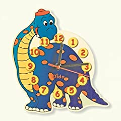 Idea Regalo - Dida - Orologio Dinosauro. Orologio da parete in legno per arredare la camera dei bambini.