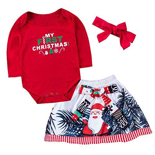 Hawkimin_Babybekleidung Hawkimin Neugeborenes Baby Mädchen Weihnachten Brief Print Briefmuster Strampler + Bedruckter Kleid + Bogen Stirnband Party Prinzessin Kleid Kleidung Outfits