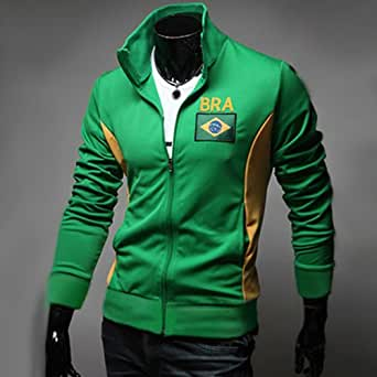 Veste Jogging Homme Fashion Casual Coupe du monde Jacket Sport Bresil Vert