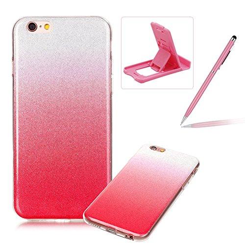 iPhone 6S Hülle Weiches Silikon Glitzer Schutzhülle Tasche Case,iPhone 6 Hochwertig Leicht Gummi Schutz Hoch Handyhüllen Schale Etui,Herzzer Modisch Luxus Silikon Bunt Hülle [Farbverlauf Gradient Farb Rosa