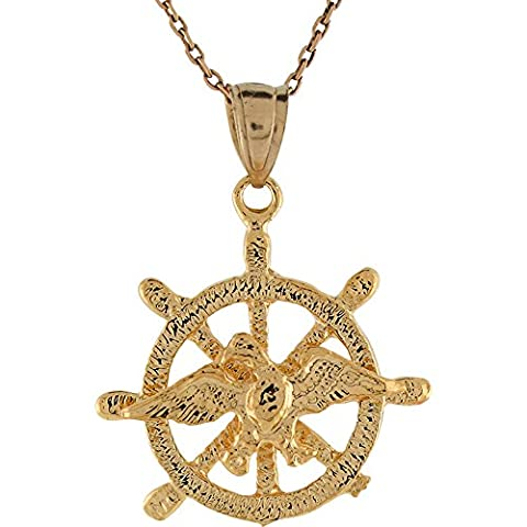 14ct Yellow Gold Flying Eagle Ship Wheel Maritime Patriotic Charm