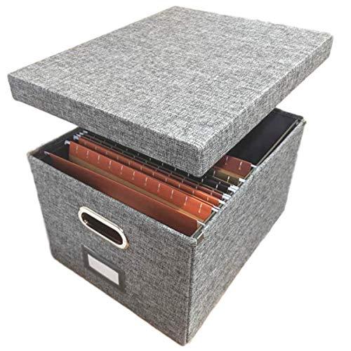 Aufbewahrungsbox aus Leinen, inkl. 10 A4-Hängemappen, zusammenklappbar, einfach zu ordnen, mit Deckel, Stahlgleitern -