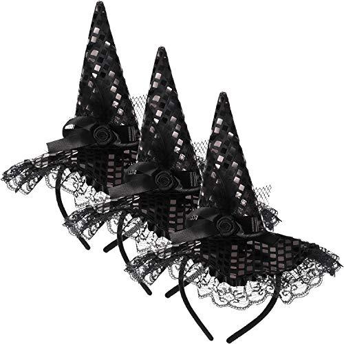 Frauen Niedliche Kostüm Hexe - WILLBOND Hexen Hut Stirnband mit Spitze Halloween Hexe Stirnband für Kinder Halloween Kostüm Ankleiden Party Lieferungen, Schwarz (3 Stücke)