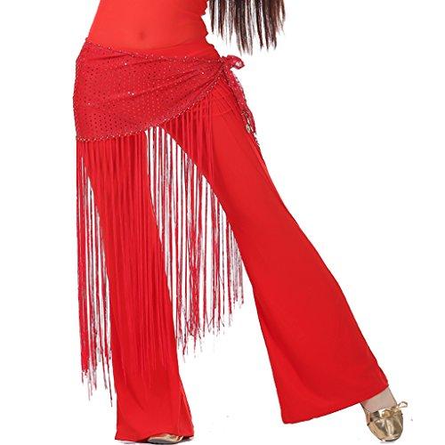 Bauchtanz Zigeuner tribal Hüfttuch latin Quasten Streifenband Gesellschafts sexy hip Schals (rot) (Sexy Bauchtanz Outfit)