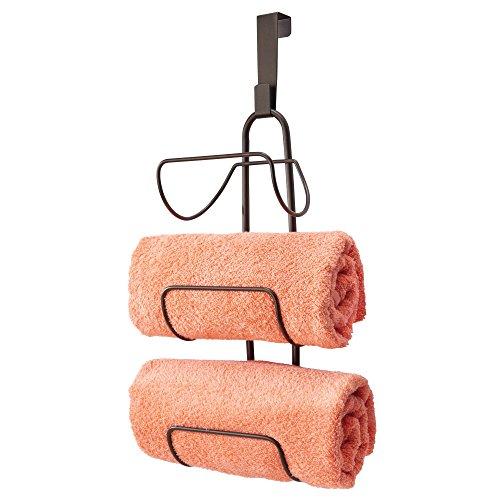 mDesign Toallero sin Taladro para Colgar - Estantería de baño en Metal con 3 Soportes - Elegante Colgador para Puerta para Guardar Toallas de baño, de Mano o Manoplas - Color Bronce
