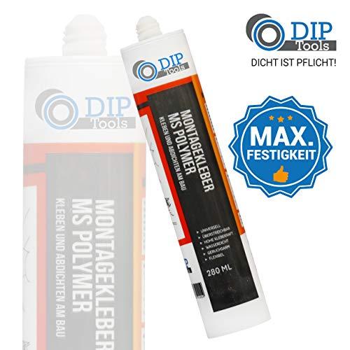 DIP-Tools Montagekleber mit Maximaler Anfangshaftung - Geruchsarmer und Wasserfester Universal Montage Kleber für Innen & Außen - weiß (1, 280ml)