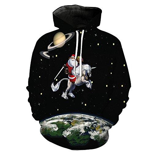 PIAOL 3D-bedruckter Kapuzenpullover Mit Unisex-Muster Von Santa Claus Herren-Baseball-Uniform Atmungsaktiver Pullover Mit Großem ()