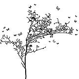 Wandora Wandtattoo 2-Farbiger Baum mit Schmetterlingen I Baum: schwarz (BxH) 195 x 184 cm I Wohnzimmer Flur Schlafzimmer Wandsticker Wandaufkleber G036