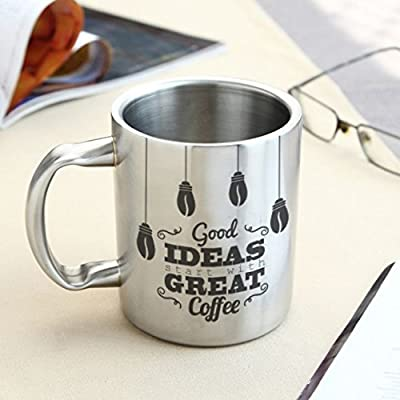 HotMuggs Good Ideas-Great Coffee Stainless Steel Double Walled Mug, 350ml, Silver