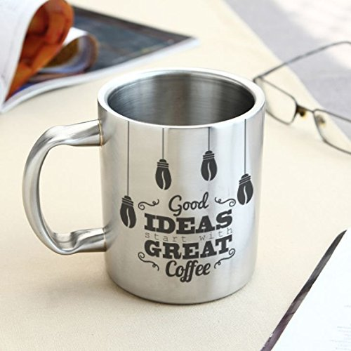 HotMuggs Good Ideas-Great Coffee Stainless Steel Double Walled Mug, 350ml, Silver  available at amazon for Rs.394