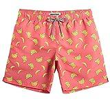 MaaMgic Herren Badehose Sommer Badeshorts für männer Jungen Badehose Schwimmhose Schnelltrocknend Kurz Vielfarbig Beachshorts MEHRWEG Banane Orange M