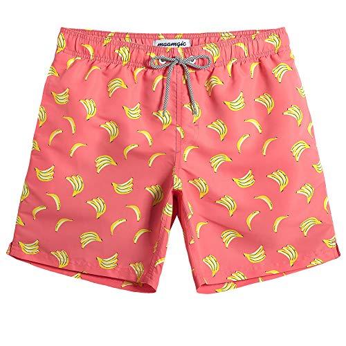 MaaMgic Herren Badehose Sommer Badeshorts für männer Jungen Badehose Schwimmhose Schnelltrocknend Kurz Vielfarbig Beachshorts MEHRWEG Banane Orange XXL