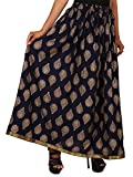 jingle impex Rayon Staple Gold Printed Straight Skirt for women (free Size) Waistband: Elastic