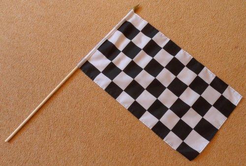 Schwarz und Weiß kariert Checkered Große Hand Flagge–Ärmeln Polyester Flagge auf 2Fuß Holz Stick
