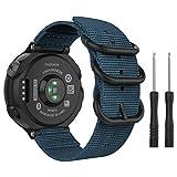 MoKo Correa Reloj para Garmin Forerunner 235/220/230/620/630 / 735XT, Pulsera de Reemplazo Ajustable de Nylón, Azul