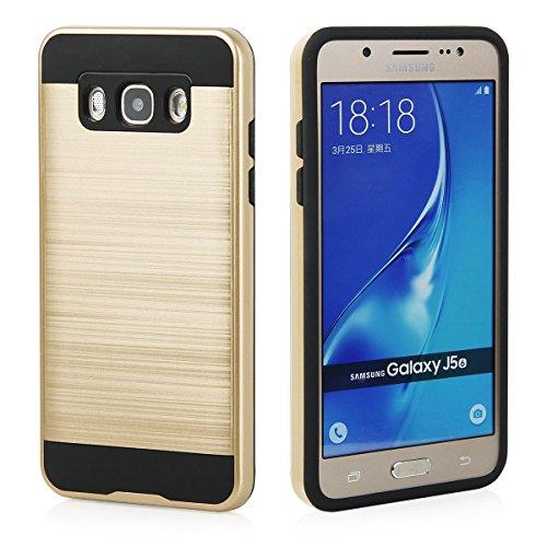 EGO® Hard Case Schutz Hülle für Samsung J510 Galaxy J5 2016, Silber Metallic Effect Brushed Handy Cover Schale Bumper Etui Top-Qualität Gold