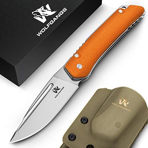 Wolfgangs CULTRO Zweihand Klappmesser aus D2 Stahl - Darf mitgeführt Werden - mit Gürtelclip (Orange)
