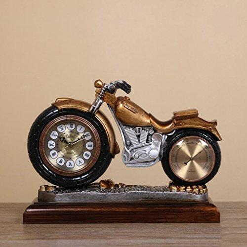 Europäischen Stil Retro Motorrad Die Uhr stumm Mesa Clock + Thermometer ( farbe : Messing )