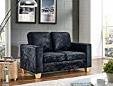 2 Seater Sofa Crushed Velvet Fabric Modern Design Living Office (Black, Velvet)