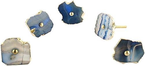 IndianShelf Handmade Slate Blue Agate Stone Door/Dresser/Cabinet/Wardrobe/Drawer/Furniture Pulls - 2 Pieces(SFK-09)