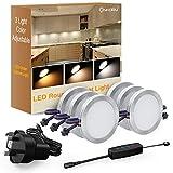 Onforu LED Cabinet Light Kit, 3 Adjustable Lights Color, 1080LM Dimmable Puck Lights