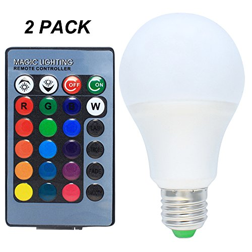 2er Pack 5W RGB LED Lampen E27 Dimmbar Farbige Leuchtmittel LED Birnen mit Kabellos Fernbedienung