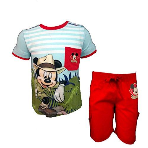 Disney completo neonato mezza manica bermuda in cotone mickey nuova collezione art. wd101326 (rosso, 36 mesi)