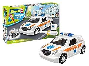 Revell- Rescue Car 00805 - Junior Ambulancia El Kit con el Sistema de Tornillos para niños a Partir de 4 años, construye y Juega con Excelentes características, 18,1 cm de Largo (