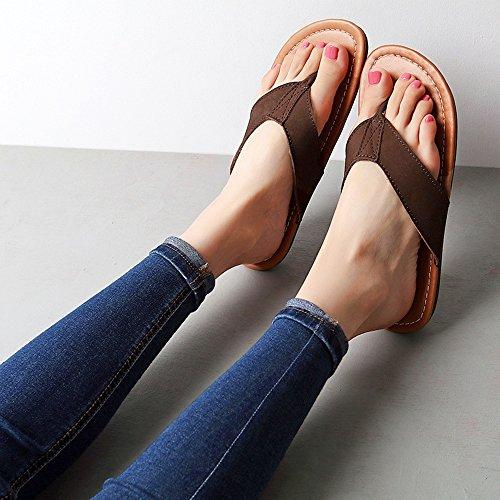 Estate Sandali Sandali Flip-flop femminile Femmine femmine pantofole fresche Scarpe da spiaggia per maschio / femmina Colore / formato facoltativo Marrone scuro