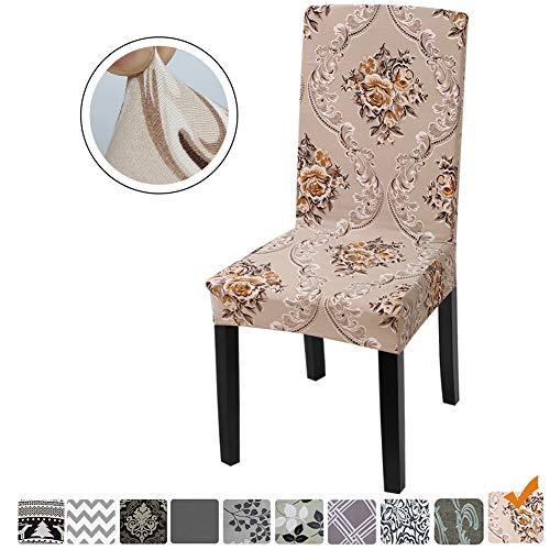 Fuloon coprisedie con schienale, fodere per sedie lavabili removibili per hotel sala da pranzo cerimonia banchetto wedding party decor (fiore che sboccia, 4 pezzi)