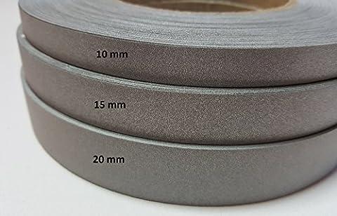 5 lfm Reflektierendes Band zum Annähen - Reflektorband, 20 mm breit, Leuchtband zum Annähen, in grau (Stich Kinderkleidung)