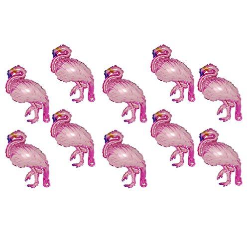 P Prettyia Paquete De 10 Mini Flamingo Globos De Papel De Aluminio Hawaiano Luau Fiesta Regalo Juguete