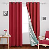 Deconovo Oxford Thermal Insulated Ready Made Blackout Curtains with Silver Lining Light Reflecting Blackout Curtains for Livingroom Red 46x72 Inch 2 Panels