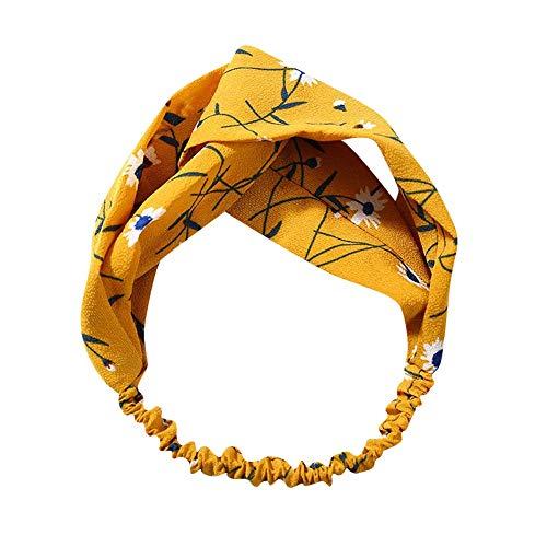 (Dorical Stirnband 1 Stück Damen Elastische Blume Gedruckt Stirnbänder, Archaistisch Frauen Verdrehte Weiche Turban-Kopf-Verpackungs Kopfband Stirnband Haarspange Fliege Schleife für Damen(A))