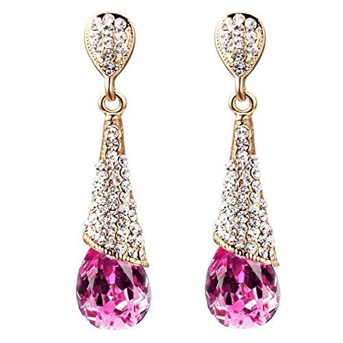 YAZILIND Gold 18K überzogen Frauen-Mode-Riss-Tropfen Rose Red Zirkonia Strass Dangel Ohrringe Geschenk