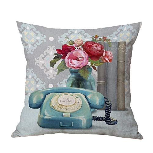 Ari_Mao Retro Vintage Camera Phone Pattern Square Almohada Sofá Pillow Cover_45 × 45cm
