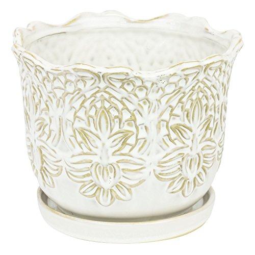 Blumentopf Keramik Untersetzer D 20,5 cm weiss Blumenvase shabby Vintage Topf