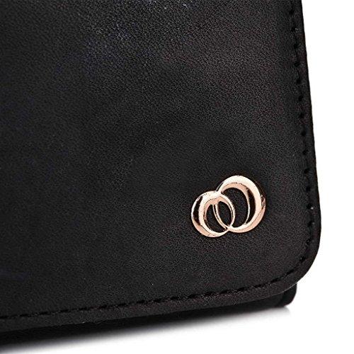 Kroo Pochette en cuir véritable pour téléphone portable pour Karbonn Titanium Hexa Gris - Gris noir - noir