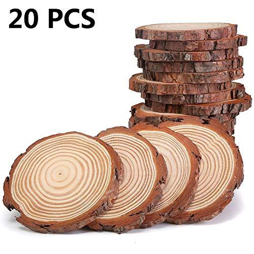 Dough.Q 20 PCS Rodajas Madera Círculos 9-10 cm Discos
