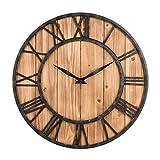 Falliback Horloge Murale en Sapin Rond Horloge Murale en Sapin Rond en Fer Forge Horloge Murale Antique Pendule en Bois Silencieux