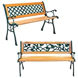 Harbour Housewares Garden Benches - Wrought Iron Antique Style Wooden Seats - 2 Seater