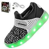 【2016 NEW RELEASE】Shinmax Frühling-Sommer-Herbst-Breathable LED Schuhe 7 Farben USB Aufladbare Leuchtschuhe Kinderschuhe mit CE-Zertifikat für Halloween Weihnachten Dank Giving Day 00123 (36, Schwarz)