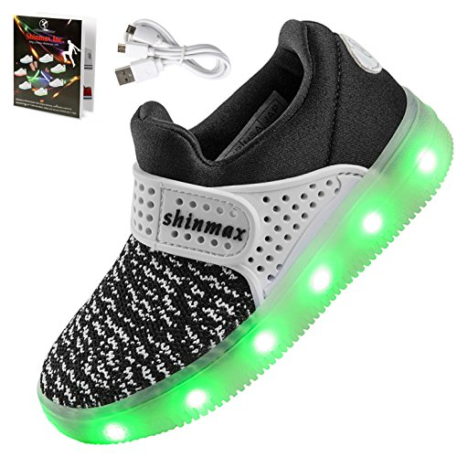 【2016 NEW RELEASE】Shinmax Frühling-Sommer-Herbst-Breathable LED Schuhe 7 Farben USB Aufladbare Leuchtschuhe Kinderschuhe mit CE-Zertifikat für Halloween Weihnachten Dank Giving Day 00123 (28, Schwarz)