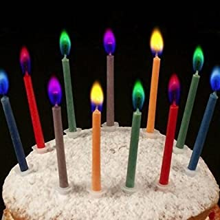 2 X Angel Flames Coloured Birthday Cake Candles x 12 by ANKEER