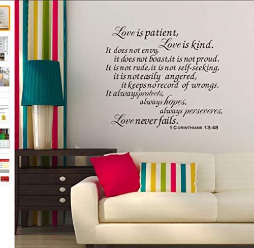 Yirenfeng Romantisches Zitat der großen Familienaufkleber in der englischen Liebe ist geduldig. Vinylwandaufkleber für Heimzitat DIY-Verse der Bibel